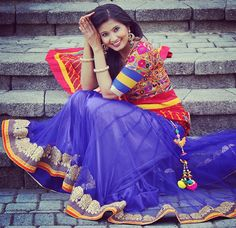 Traditional lehnga from Navratri collection Saree Blouse Neck Designs, Choli Designs, Blouse Designs, Indian Suits, Indian Dresses, Indian Wear, Navratri Dress, Indian Fashion, Women's Fashion