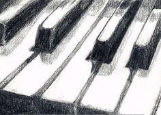Piano Keyboard Art Print of Graphite Pencil Drawing by Saylor Wolf