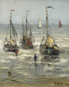 Hendrik Willem Mesdag (Groningen 1831-1915 Den Haag) Sailing out to sea - Dutch Art Gallery Simonis and Buunk Ede, Netherlands.