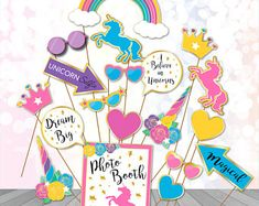 Unicorn Photo Booth Props Printable Unicorn Party Printables Magical unicorn Photo props