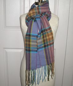 purple plaid scarf . acrylic scarf . made in Germany . purple plaid by vintagous on Etsy