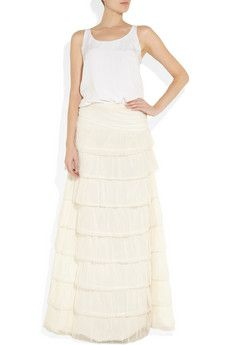 Jay Ahr silk and embroidered tulle gown
