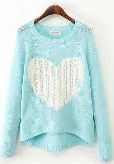 Blue Heart Print Long Sleeve Sweater