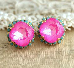 Pink+turquoise+Stud+earrings+Rhinestones+Crystal+big+by+iloniti,+$45.00