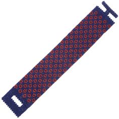 This feminine bracelet features bright red bead-woven poppies and a cool, denim-blue beaded backdrop for a fun, casual look. Bead Loom Bracelets, Woven Bracelets, Peyote Beading, Beadwork, Beading Patterns Free, Peyote Patterns, Bracelet Patterns, Beading Tutorials, Beaded Bracelets