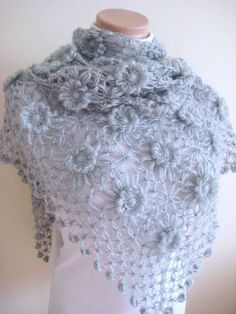 Gray Daisy Shawl Shiny Light Grey Flowers Triangle by beeMAYA