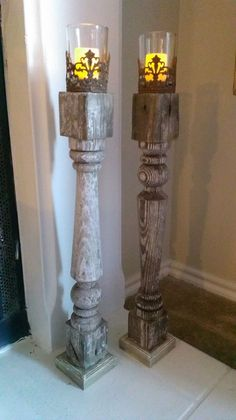 """Porch spindles turned into shabby chic candle sticks with the help of some craft store votive holders and LED """"candles""""."""