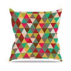 "KESS Original ""Autumn Triangle Spectrum"" Multicolor Geometric Throw Pillow"