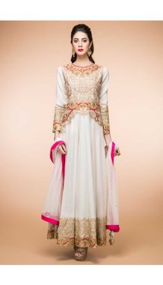 White Crepe And Silk Anarkali Churidar Suit With Dupatta - 1842
