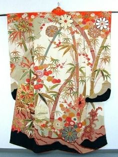 Vintage bamboo Furisode furisode literally translates as swinging sleeves—the sleeves of furisode average between 39 and 42 inches (1,100 mm) in length. Furisode are the most formal kimono for unmarried women, with colorful patterns that cover the entire garment.