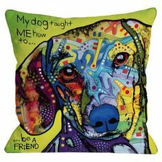 "A heartfelt ode to your furry companion, this artful pillow showcases a portrait of a daschund in a street art-inspired palette.   Product: PillowConstruction Material: 100% Polyester cover and 100% polyester-down alternative fillColor: MultiFeatures:  Insert includedRemovable coverDigitally printed on both sides Dimensions: 18"" x 18""Cleaning and Care: Machine wash cover"