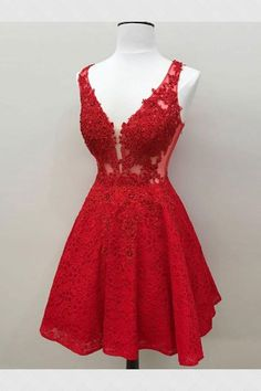 Cheap Admirable Prom Dresses Red, Lace Prom Dresses, Short Prom Dresses, Lace Red Prom Dresses Red Lace evening dress Short prom dress Cheap evening dress Lace dress dress with V-neck Cheap Homecoming Dresses, Red Bridesmaid Dresses, Hoco Dresses, Prom Party Dresses, Formal Dresses, Short Red Prom Dresses, Red Lace Dress Short, Dresses Dresses, Dresses Online