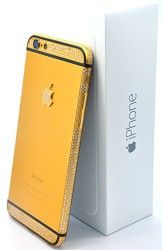 Apple Iphone 6 – 128gb Gold Plated 24k with Swarovski Crystals / Gold and Black/ Verizon – Factory Unlocked/ International/ SIM Free