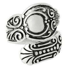 Silver-Wear Swirls Sterling Silver Adjustable Antique Finish Ambient Ellipse Spoon Style Ring >>> Visit the image link more details.