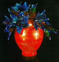Dale Chihuly,  Spitfire Red Piccolo Venetian with Cobalt Orchids  (1997, glass, 10 x 9 x 8 inches)