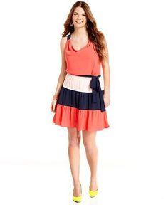 ING Plus Size Dress, Sleeveless Colorblocked Belted  Plus Size Dresses  Plus Sizes  Macys I Want it now!   Big Fashion Show plus size dresses