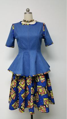 African Print Skirt and Denim Fitted Princess by NanayahStudio