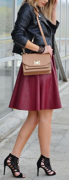 Burgundy & Black Leather