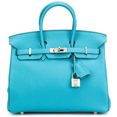 Hermès Vintage Small \'Clemence Birkin\' Tote ($30,000) ❤ liked on Polyvore featuring bags, handbags, tote bags, leather purses, blue tote bag, vintage leather purse, leather handbag tote and vintage leather handbags