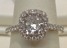 Cushion cut halo diamond ring 4.25 ct.diamond pave ring