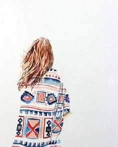 she-explores elizabeth becker Fashion Sketches, Art Sketches, Art Drawings, Watercolor Illustration, Watercolour Painting, Watercolours, Cute Art, Art Girl, Fashion Art
