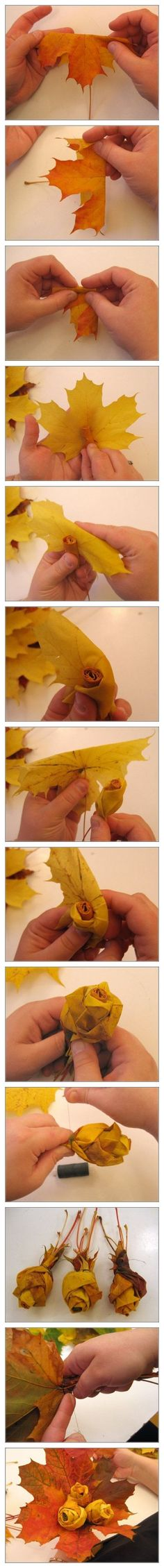 make a rose out of a fall leaf
