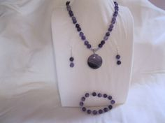 Geode Gem Stone Pendant strung with Amethest beads by MDJewelCraft, $40.00