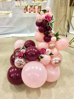 Balloon bouquet with flowers