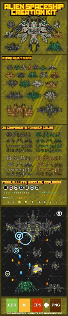 Build your own alien spaceship for your space shooter or shmup game with this modular space shooter kit. #2d #game #assets #sprite #space #shooter #shmup