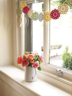 Country Roses #flowers #crochet #garland
