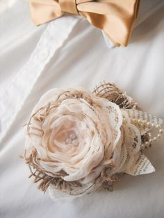 Burlap and lace fabric flower boutonniere by Mademoiselle artsy