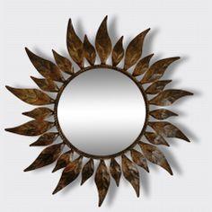 Grand miroir soleil métal à encadrement de feuilles mordorées