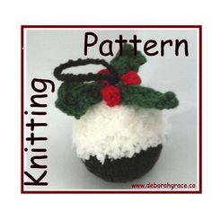 Christmas pudding tree decoration knitting by DeborahGraceDesigns