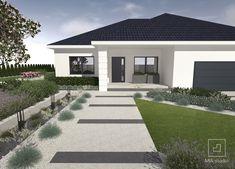 Ogród opiera się o formy geometryczne. Proste kształty i stonowana kolorystyka nawierzchni z płyt betonowych tworzy nowoczesny ogród ze skosami. Bungalow Haus Design, House Design, Beautiful House Plans, Beautiful Homes, Backyard Seating, Patio, Outdoor Doors, Front Yard Landscaping, Dream Rooms