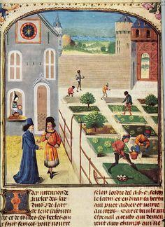 Jardin de château / d'abbaye, dessin 15me siècle (extrait du livre les tres riches heures du Duc de Berry? A verifiier