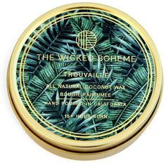 The Wicked Boheme Trouvaille Coconut Wax Candle (€16) ❤ liked on Polyvore featuring home, home decor, candles & candleholders, gold and coconut wax candles