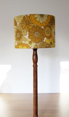 Items Similar To Vintage Retro Lampshade 1970s Fabric Medium Handmade Ochre Flower Design On Etsy