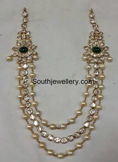 22 carat gold antique peacock nakshi bajuband adorned with moissanites, rubies, emeralds and south sea pearls by Premraj Shantilal jewellers. Pearl Necklace Designs, Pearl Jewelry, Indian Jewelry, Wedding Jewelry, Beaded Jewelry, Jewelery, Antique Necklace, Pearl Necklaces, Jewelry Necklaces