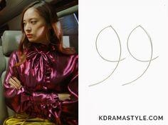Bride of the Water God Episode Krystal's Hoop Earrings - KdramaStyle Gold Hoop Earrings, Gold Hoops, Bride Of The Water God, Krystal Jung, Just She, Korean Style, Dramas, Korean Fashion, Ruffle Blouse