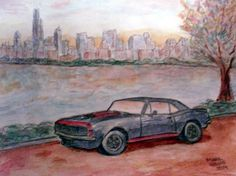 68 Camaro SS in Chicago (Watercolor and Pencil) 2014