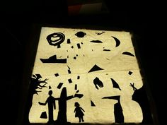 Children made silhouettes of thier objects and characters to make a story on our lightbox today. (Inspired by the Reggio amelia approach)