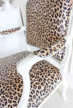 French Louis XV Chairs in Leopard Spot Upholstery. The wood on the chair needs to be painted red. I need this chair.