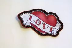 Tattoo Heart Love Patch Personalized Hand by MaineCoonCrafts, $15.00