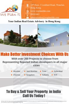 We Plan It - Hong Kong - Your Indian Real Estate Advisory in Hong Kong Make Better Investment Choices with us. With over 200 #Projects to choose from Representing Reputed Indian #Developers in all Major Cities. or For more details Visit us : https://www.weplanithk.com/ We are #RealEstate Advisory in #HongKong For #IndianProperty #Investment #Home #SecondHome #NRIInvestment