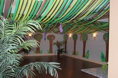 Jungle party - turned basement into a jungle with streamers and snakes and trees