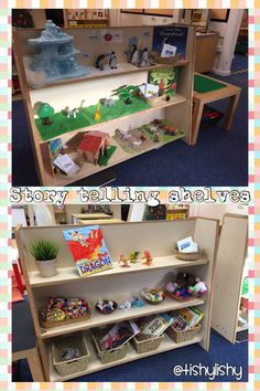Another great idea for story telling Current story telling shelves. Classroom Setting, Classroom Setup, Classroom Design, Classroom Displays, Year 1 Classroom Layout, Preschool Literacy, Literacy Activities, In Kindergarten, Space Preschool