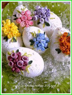 la cascina creativa: Uova pasquali decorate con roselline in pirkka
