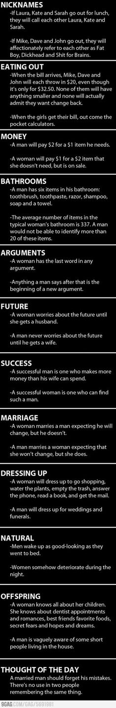 Women vs Men....literally LOL at some of these