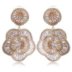 Fashion Latest Jewelry Elegant Lady Gold Plated Clear Zirconia Earrings For Brides Long Teardrop Allergy Free Big Earrings