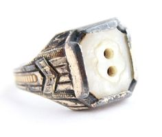 Antique 10K Gold & Sterling Silver Art Deco Ring - Mother of Pearl Button Ring 1930s Jewelry Size 5 / 1936 by Maejean Vintage, $50.00